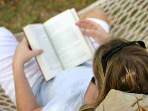 Relaxing with a book.