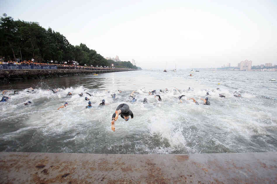 Triathletes begin the 1,500-meter swim (just under 1 mile) in the Hudson River as part of last year's New York City Triathlon.