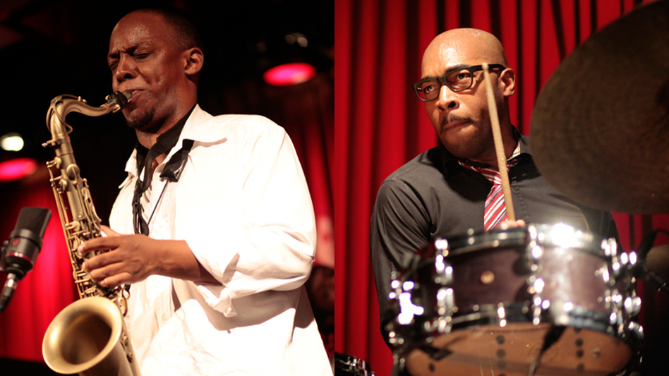 Marcus Strickland (left) and Eric Harland, during their bands' performances at 92Y Tribeca. (johnrogersnyc.com)