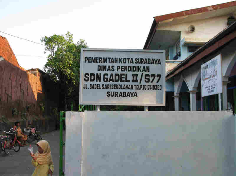 Alifah Achmad Maulana said a teacher at the public elementary school in Gadel village, shown here, told him to share his answers to questions on a national exam. Allegations of organized cheating on the have  shaken Indonesia's confidence in its  education system.