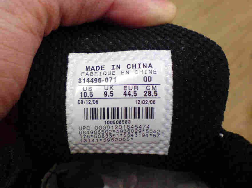 The tag inside a sneaker.