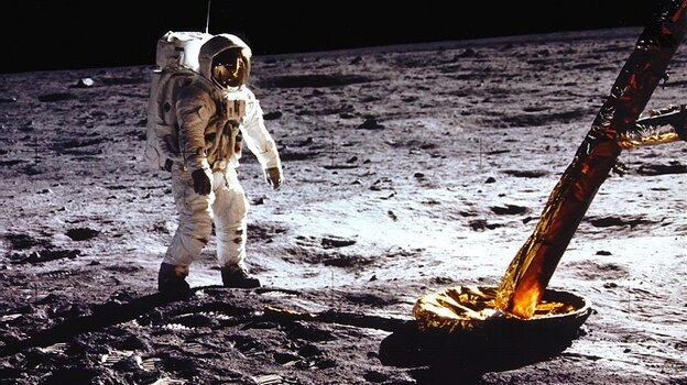 Buzz Aldrin on the moon during the Apollo 11 mission.