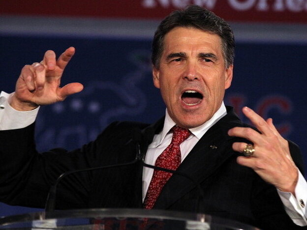 Texas governor Rick Perry speaks on June 18, 2011 in New Orleans, Louisiana.
