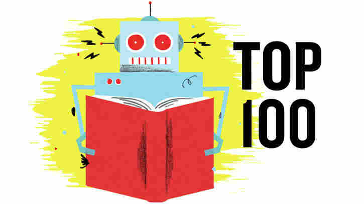 Illustration: A robot reads a book.