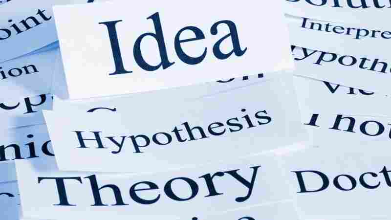iStock image of the words idea, hypothesis, theory.