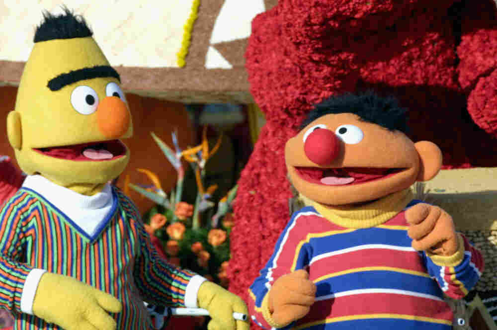 "Sesame Street's Bert and Ernie ride the  ""Music Makes Us Family"" float in the 2005 Tournament of Roses Parade."