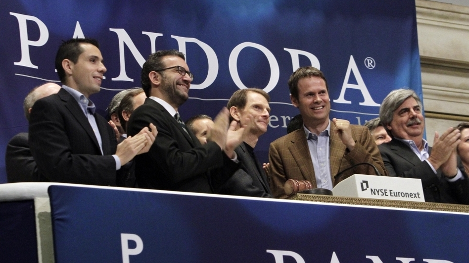 Pandora Radio executives ring the opening bell at the New York Stock Exchange to celebrate their company's initial public offering June 15.