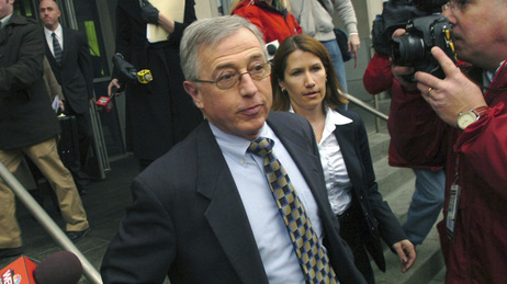 Mark Ciavarella, center, leaves the federal courthouse in Scranton, Pa. in February.