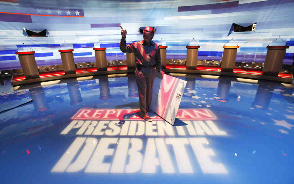 Preparations for the Iowa GOP presidential debate, Aug. 10, 2011.