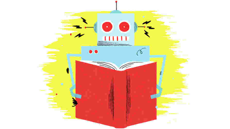 Illustration: A robot reads. (w)