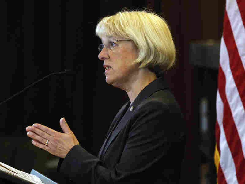Sen. Patty Murray answers a question during a brief news conference following a visit to the headquarters of Amazon.com Wednesday, Aug. 10, 2011, in Seattle. On Tuesday, Senate Majority Leader Harry Reid named Murray as part of a powerful new committee tasked to find a bipartisan plan to slash the federal budget deficit.