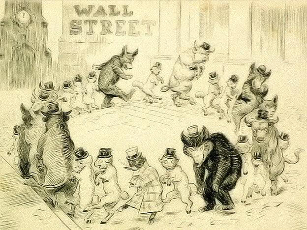 A vintage illustration of Wall Street, 1908