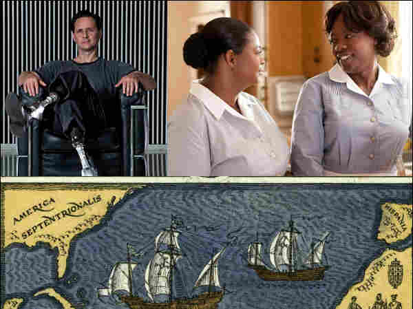 Clockwise from left to right: Hugh Herr, Octavia Spencer and Viola Davis, an illustration of Columbus' voyage.