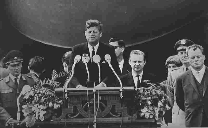 "President John F. Kennedy delivers his famous ""Ich bin ein Berliner"" (""I am a Berliner"") speech in front of city hall in West Berlin on June 26, 1963."