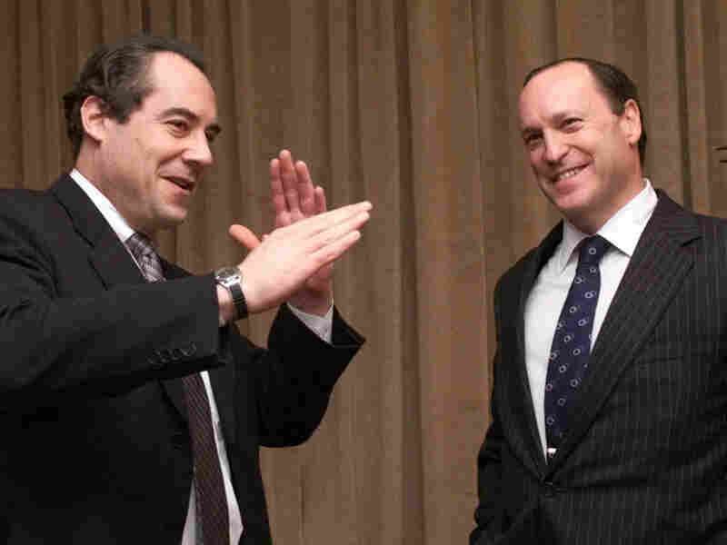 Primedia chairman and CEO Tom Rogers, left, talks with Steven Brill after a New York news conference announcing Brill as the chariman and CEO of a new subsidiary, Media Central, Thursday, Jan. 4, 2001. magazine publisher Primedia Inc.