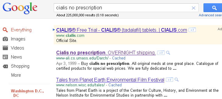 "Search for ""Cialis no prescription"" and you'll find university websites that hackers have hijacked to redirect you to illicit online pharmacies."
