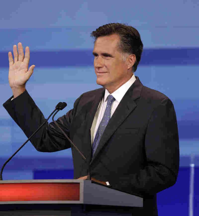 Mitt Romney at Fox News/Iowa GOP debate in Ames, IA, Aug. 11, 2011.