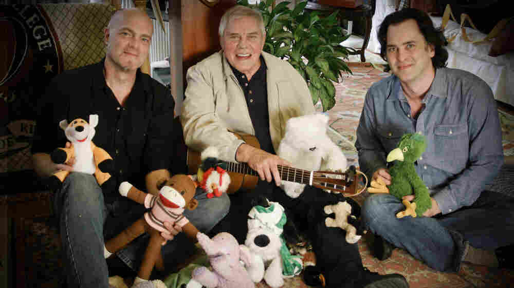 Tom T. Hall, flanked by producers Eric Brace (left) and Peter Cooper. The three worked together to remake Hall's children's classic, Songs of Fox Hollow.