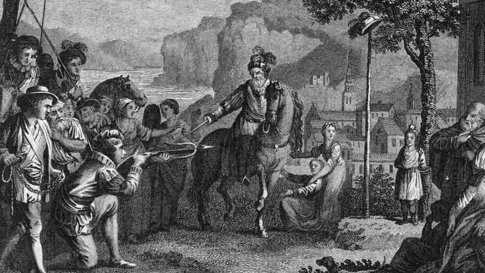 William Tell, the legendary Swiss patriot is forced to shoot the apple from his son's head.