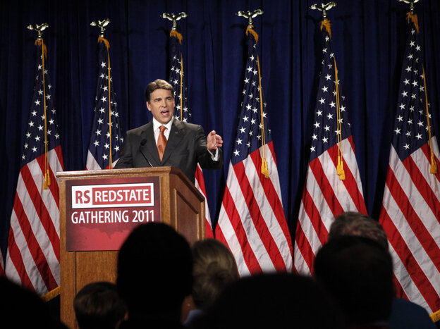 Texas Gov. Rick Perry announces that he will run for the Republican presidential nomination, in Charleston, S.C., on Saturday.