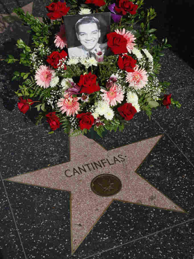 Flowers adorn Cantinflas' star on the Hollywood Walk of Fame on the legendary comic's 100th birthday  Friday.