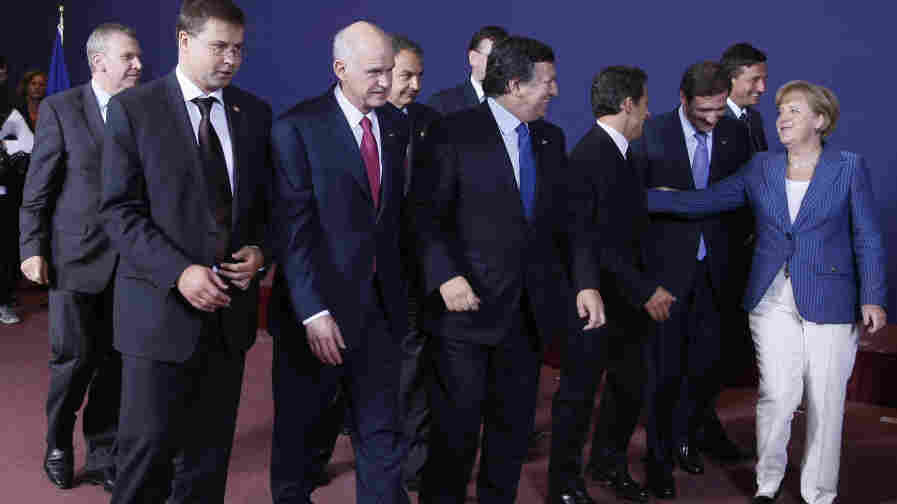 European leaders are shown here at an EU summit June 23 in Brussels. The Continent's economic crisis has helped bring down two governments so far this year, and several are in danger of being ousted from power.