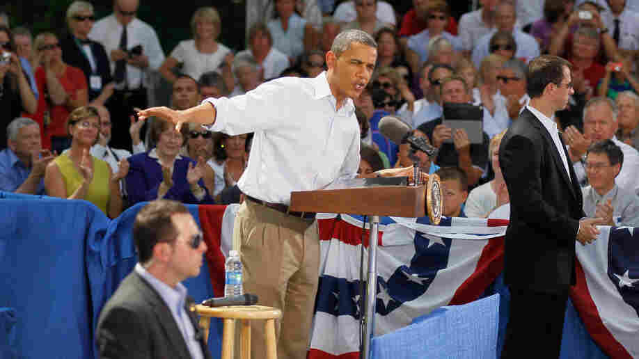 President Obama speaks Monday at the town hall-style meeting at the Lower Hannah's Bend Park in Cannon Falls, Minn. Obama is on a bus tour of Minnesota, Iowa and Illinois where he is scheduled to speak with people about economic issues.