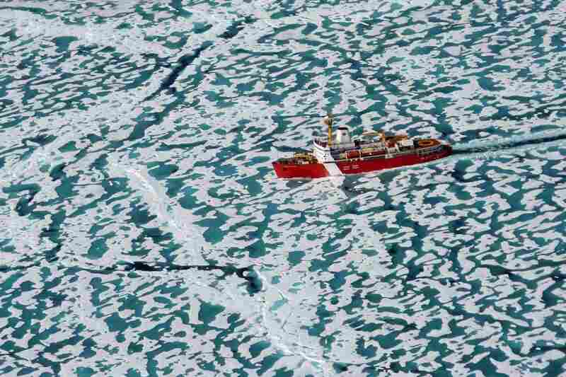The Louis S. St.-Laurent breaks its way through the once-treacherous Northwest Passage.