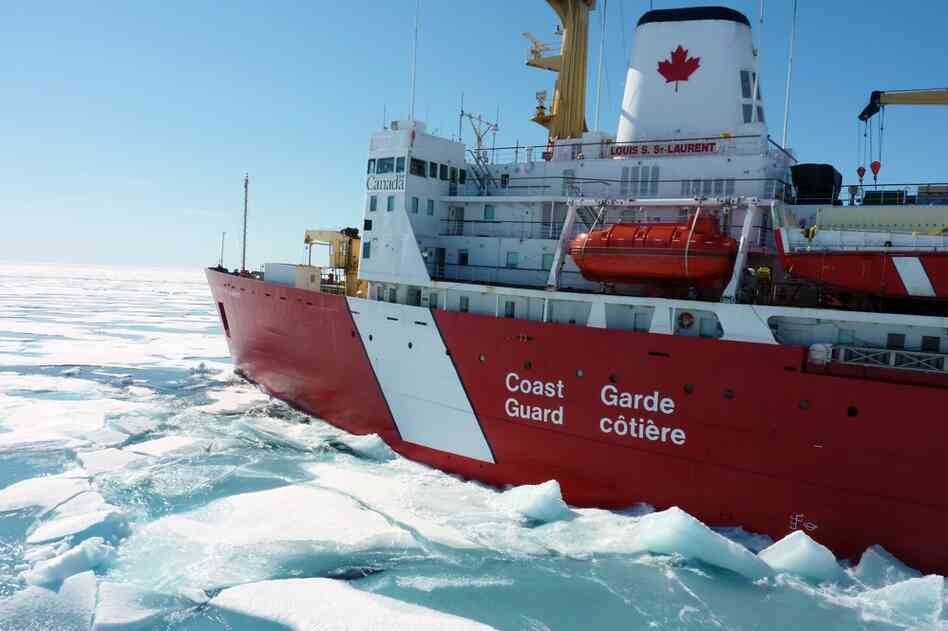 The Louis S. St.-Laurent crashes through ice along the Northwest Passage, a series of waterways winding through Canada's Arctic archipelago. Affectionately known as the Louis, the country's largest icebreaker spends most of its time in the Arctic these days dedicated to scientific research.