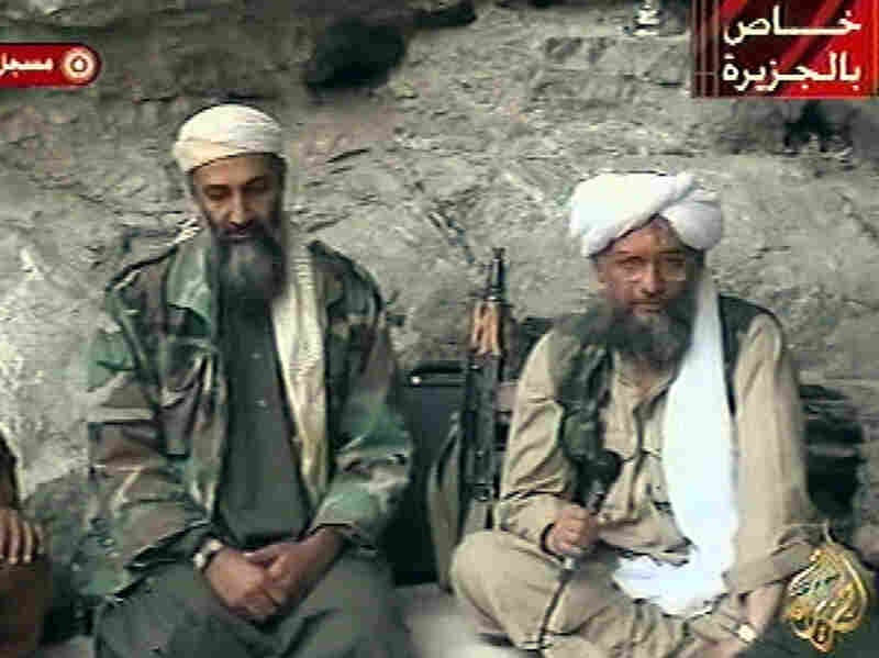 Osama bin Laden (left) and his top lieutenant, Egyptian Ayman al-Zawahiri, are seen at an undisclosed location in this television image broadcast Oct. 7, 2001. In Counterstrike, reporters Thom Shanker and Eric Schmitt say the United States tried to disrupt al-Qaida by attacking the organization's financiers and middlemen.