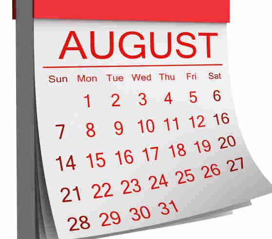 An August calendar.