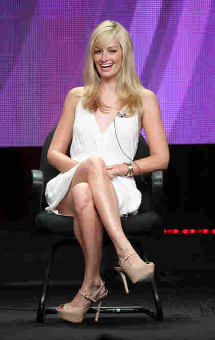 """One of the running themes — here shown by Beth Behrs of CBS's sitcom 2 Broke Girls — is looking at actresses up on stage and thinking, """"Wow, there really are people who can wear shoes like that. And fold their ankles that way."""""""