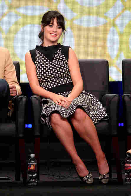 The appearance of Zooey Deschanel, promoting her sitcom The New Girl, was like catnip to a room full of fellas whose ideal woman is the slightly clumsy, but still impossibly gorgeous, self-proclaimed nerd.