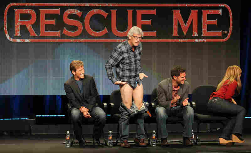 Rescue Me had its last TCA panel, and executive producer Peter Tolan decided to bring a little surprise to the mix by declaring that he was going to drop his pants. Which he did. He is wearing underwear, by the way. They're just small.
