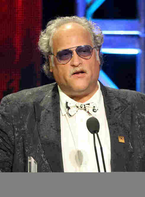 You might not know this one — this is Rob Salem, a critic with the Toronto Star, seen here presenting at the TCA Awards on Saturday night. You have to give Rob credit for the Mickey Mouse tie and that jacket. He was also sporting Chuck Taylors. it was pretty rad.