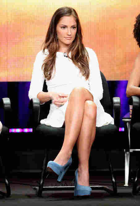 Speaking of shoes and color, Minka Kelly's bright blue shoes were probably the most interesting thing about the panel presenting ABC's Charlie's Angels reboot.