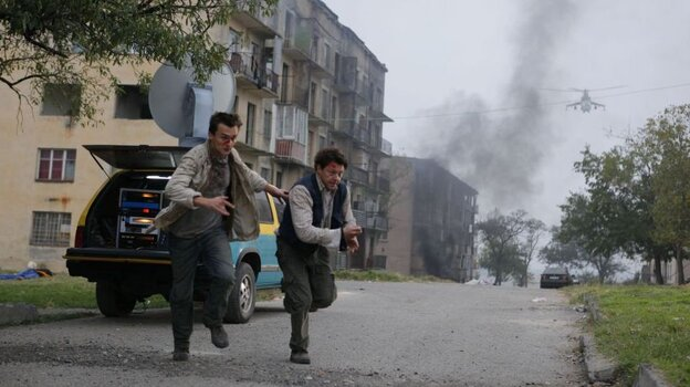 The Thin, Unread Line: From  left, Thomas (Rupert Friend) and Sebastian  (Richard Coyle) are war reporters struggling to comprehend both the Russia-Georgia conflict and the outside world's  tepid response to their coverage. In the  summer of 2008, most TV outlets were focused on the Olympics instead.