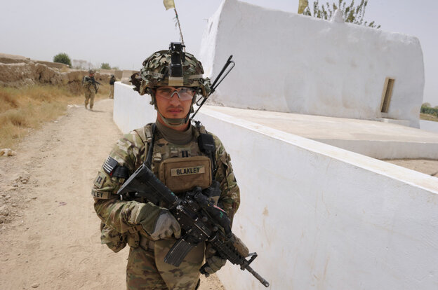 Captain Michael Blakley, company commander of Battle Co., 1-32 Infantry Battalion, 3rd Brigade Combat Team, accompanied