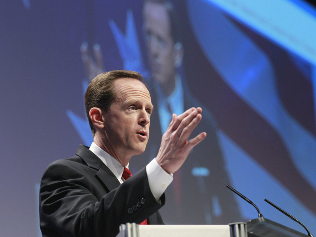 Sen. Pat Toomey (R-PA) addresses the Conservative Political Action Conference in Washington in February.