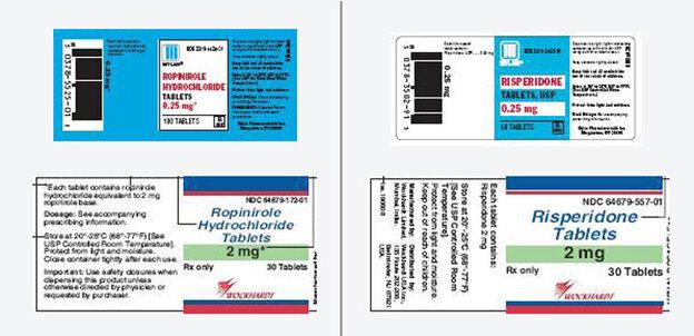Risperidone (Risperdal), prescribed for  schizophrenia and bipolar  disorder, and ropinirole (Requip