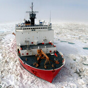 The U.S. Coast Guard Cutter Healy breaks ice to support scientific research in the Arctic Ocean near Barrow, Alaska, in this file photo from July 2006 provided by the Coast Guard. In addition to the medium-class Healy, the U.S. just has two polar-class icebreakers — one of which will be decommissioned soon.
