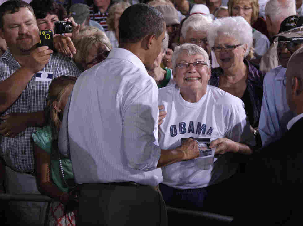 President Obama works rope line in Atkinson, Ill., Aug. 17, 2011.