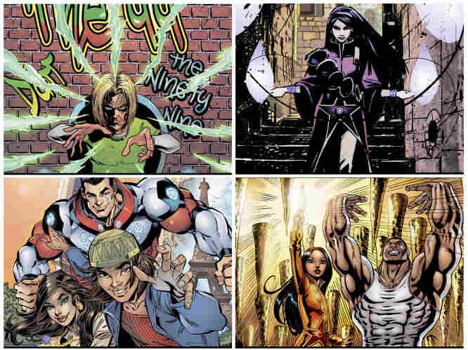 A selection of artwork from the comic book series The 99 features Muslim superheros. The Arab world's private sector is leading a push to provide Muslim and Arab youth with homegrown heroes.