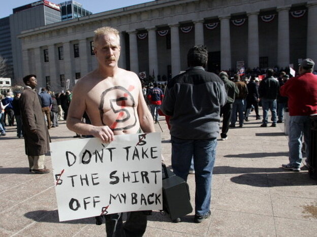 COLUMBUS, OH - A union supporter outside during Gov. John Kasich's March 2011 State of the State address.