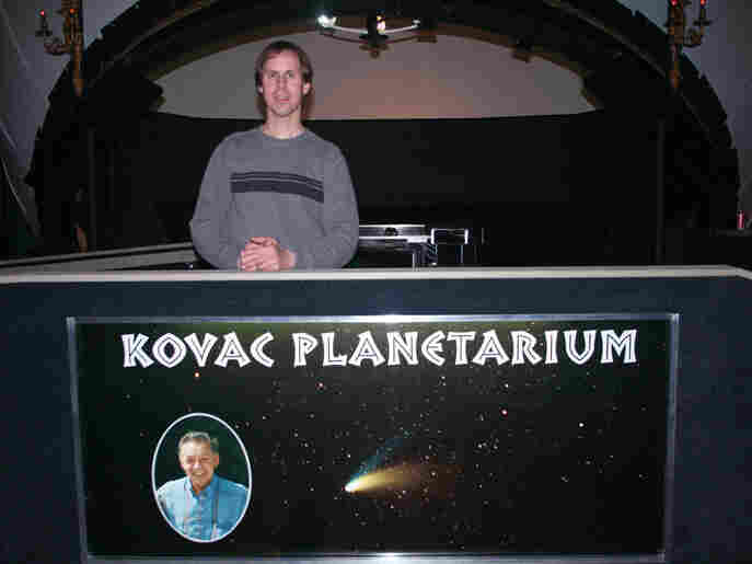 The Kovac  Planetarium is dedicated to Frank's father, Frank Kovac Sr., seen in the inset  photo on the sign, who inspired his son to gaze at the  stars.