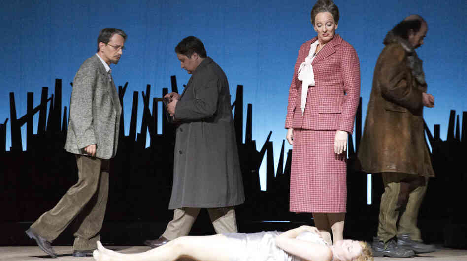 Marcus Pelz, Marian Talaba, Janice Watson and Deborah Polaski in 'Katya Kabanova' at the Vienna State Opera.