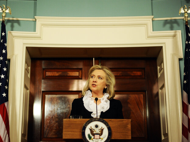 """Secretary of State Hillary Clinton said Thursday at the State Department that the U.S. would take steps to """"mitigate"""" unintended consequences the new sanctions might have on the Syrian people."""