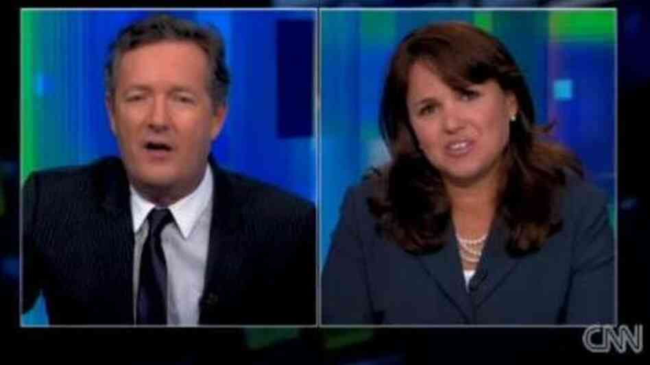 Piers Morgan and Christine O'Donnell before she left the set last night.