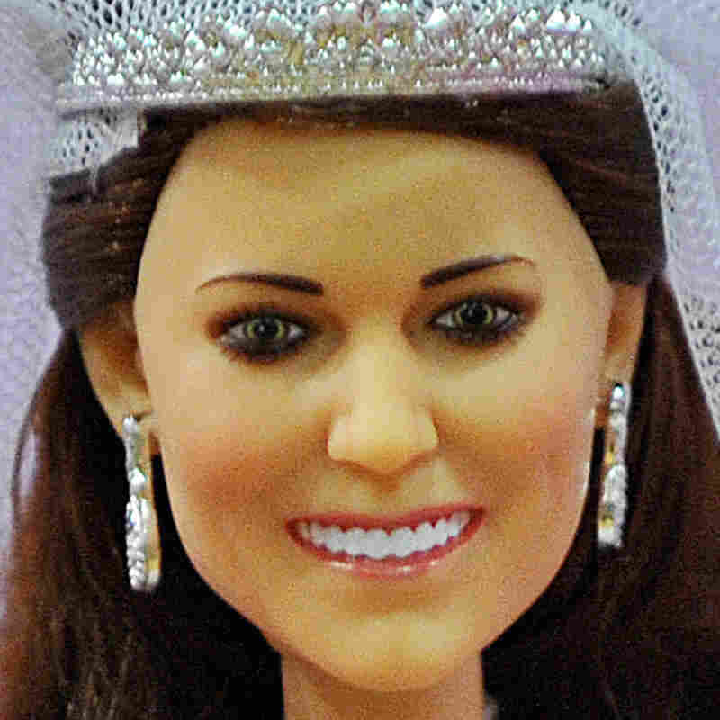 Close-up of Duchess of Cambridge doll.