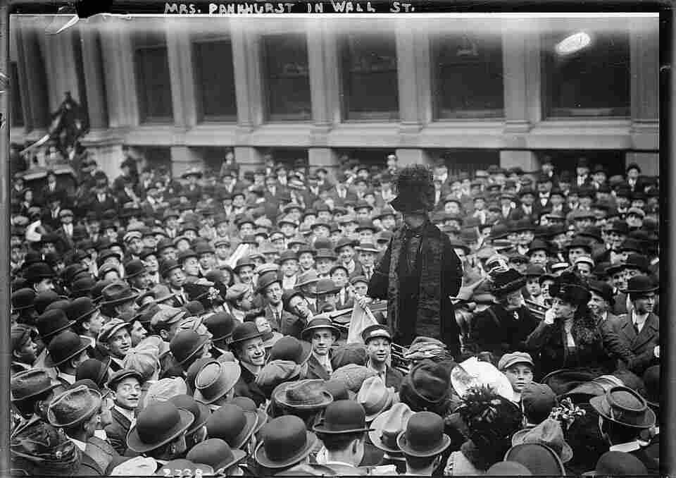 British suffragist leader Emmeline Pankhurst addresses a crowd on Wall Street, New York City, 1911.